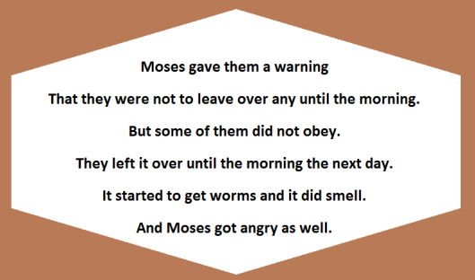 Moses gave a warning not to leave any manna over until morning.